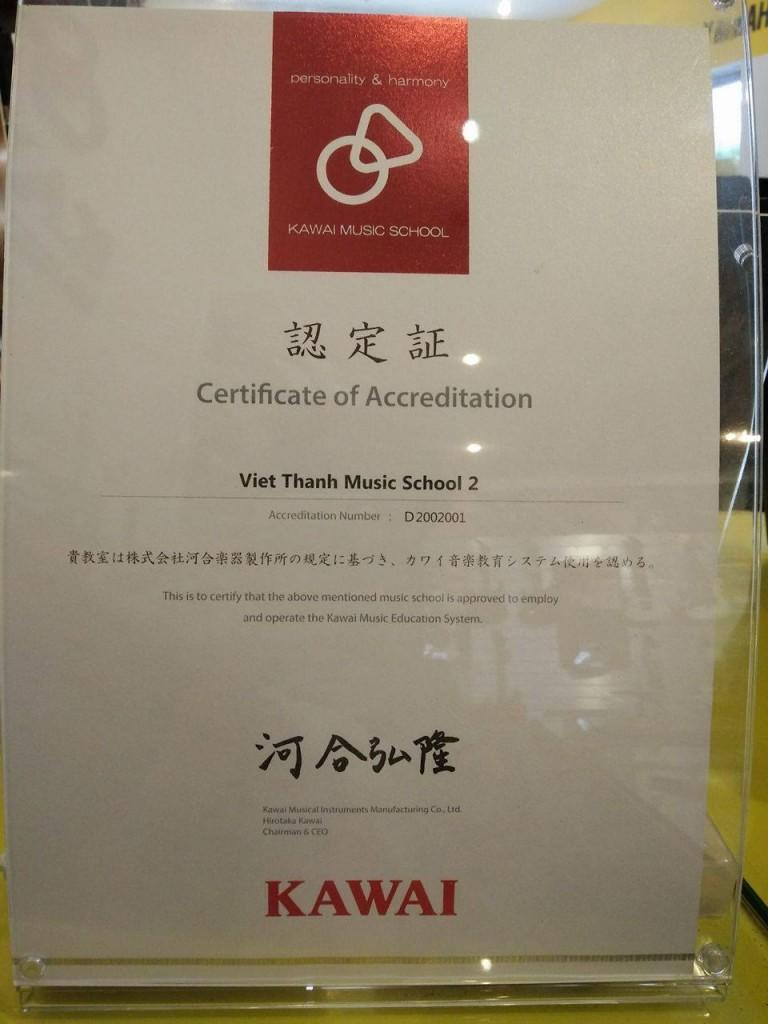 Trường Âm Nhạc Việt Thanh được cấp giấy chứng nhận kiểm định chất lượng đào tạo của Kawai Nhật Bản